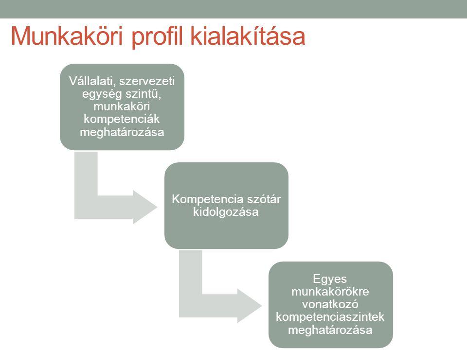 Munkaköri profil kialakítása Vállalati, szervezeti egység szintű, munkaköri kompetenciák meghatározása Kompetencia szótár kidolgozása Egyes munkakörökre vonatkozó kompetenciaszintek meghatározása
