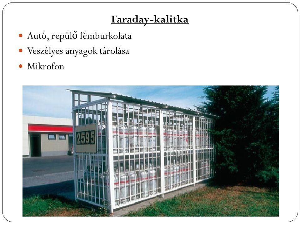 Faraday-kalitka  Autó, repülő fémburkolata  Veszélyes anyagok tárolása  Mikrofon