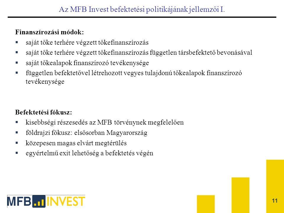 11 Az MFB Invest befektetési politikájának jellemzői I. Finanszírozási módok:  saját tőke terhére végzett tőkefinanszírozás  saját tőke terhére végz