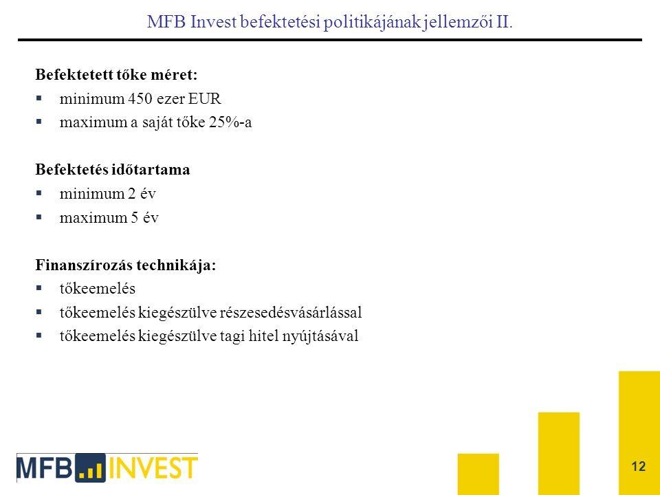 12 MFB Invest befektetési politikájának jellemzői II. Befektetett tőke méret:  minimum 450 ezer EUR  maximum a saját tőke 25%-a Befektetés időtartam