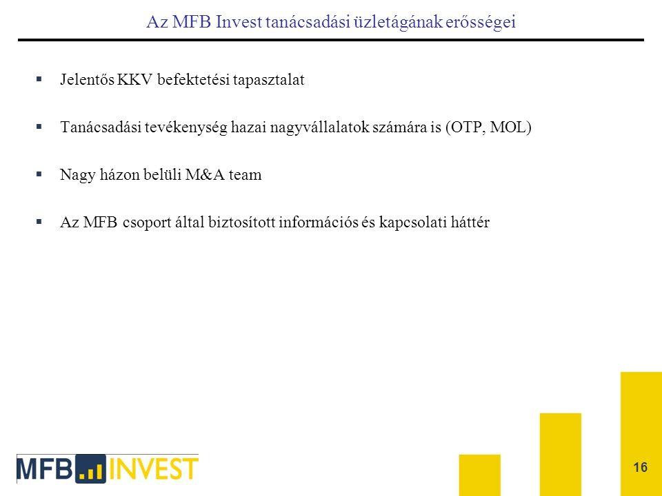 Az MFB Invest tanácsadási üzletágának erősségei  Jelentős KKV befektetési tapasztalat  Tanácsadási tevékenység hazai nagyvállalatok számára is (OTP,