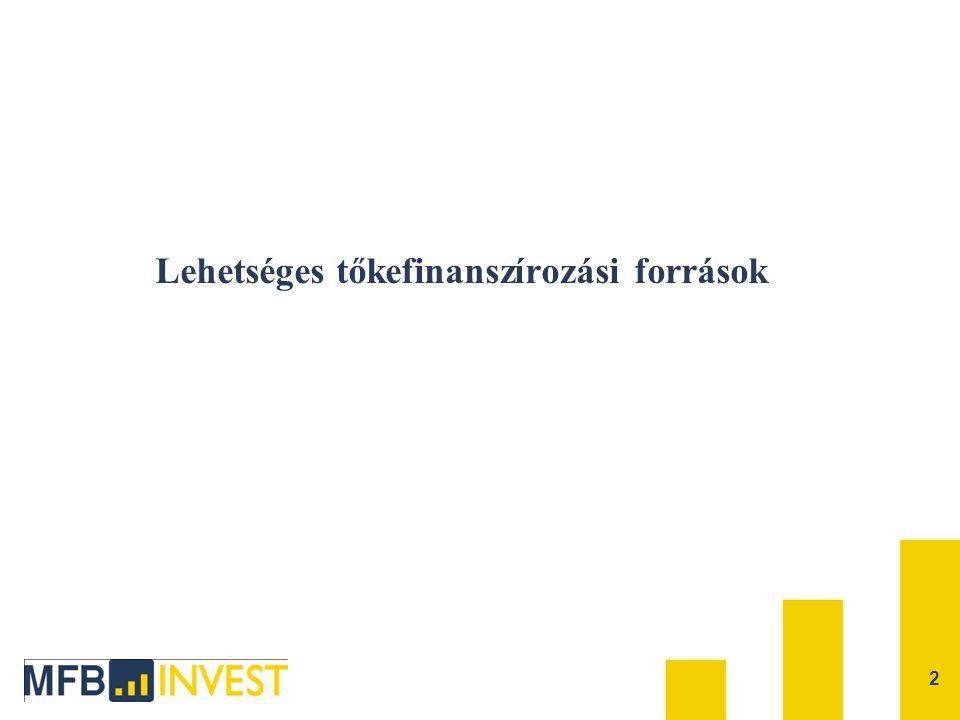 Lehetséges szereplők a hazai tőkefinanszírozásban  JEREMIE alapok (7+1 alap)  Hazai állami finanszírozók (MFB csoport )  Egyéb hazai kockázati tőkealapok (nem részei a JEREMIE programnak)  Nagy nemzetközi szereplők (pl.: EIB, EBRD, intézményi befektetők; csak jelentős projektméret esetén érdeklődnek) 3