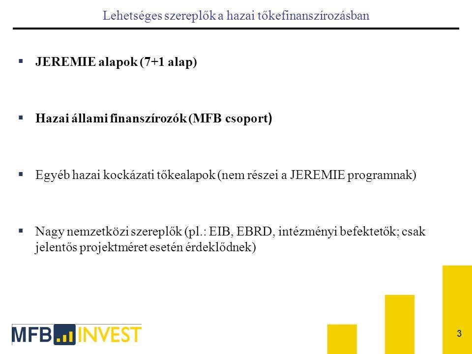 Lehetséges szereplők a hazai tőkefinanszírozásban  JEREMIE alapok (7+1 alap)  Hazai állami finanszírozók (MFB csoport )  Egyéb hazai kockázati tőke