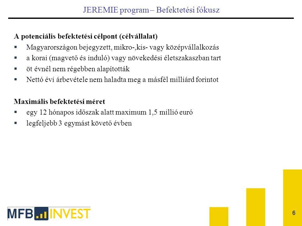 6 JEREMIE program – Befektetési fókusz A potenciális befektetési célpont (célvállalat)  Magyarországon bejegyzett, mikro-,kis- vagy középvállalkozás