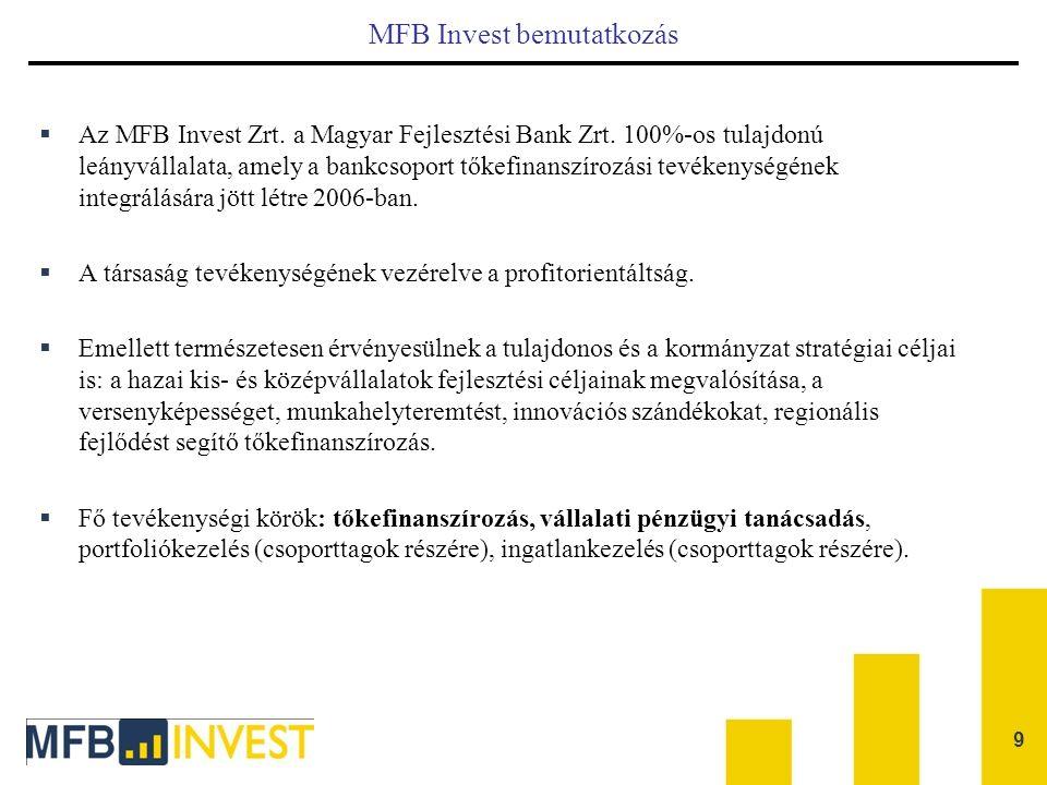 9 MFB Invest bemutatkozás  Az MFB Invest Zrt. a Magyar Fejlesztési Bank Zrt. 100%-os tulajdonú leányvállalata, amely a bankcsoport tőkefinanszírozási