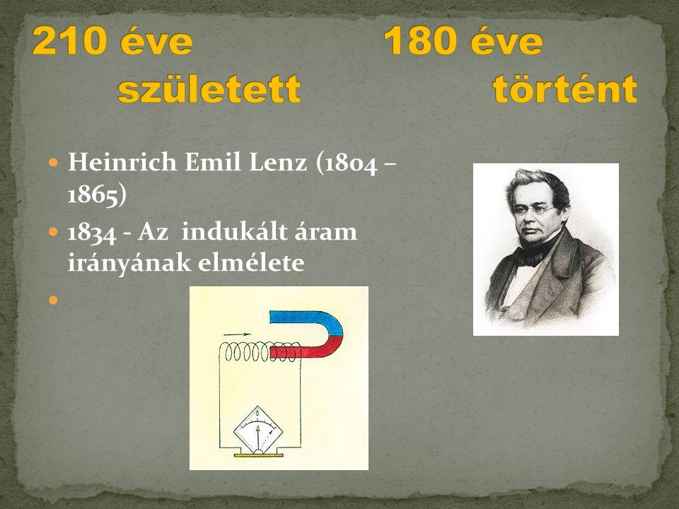  Heinrich Emil Lenz (1804 – 1865)  1834 - Az indukált áram irányának elmélete 