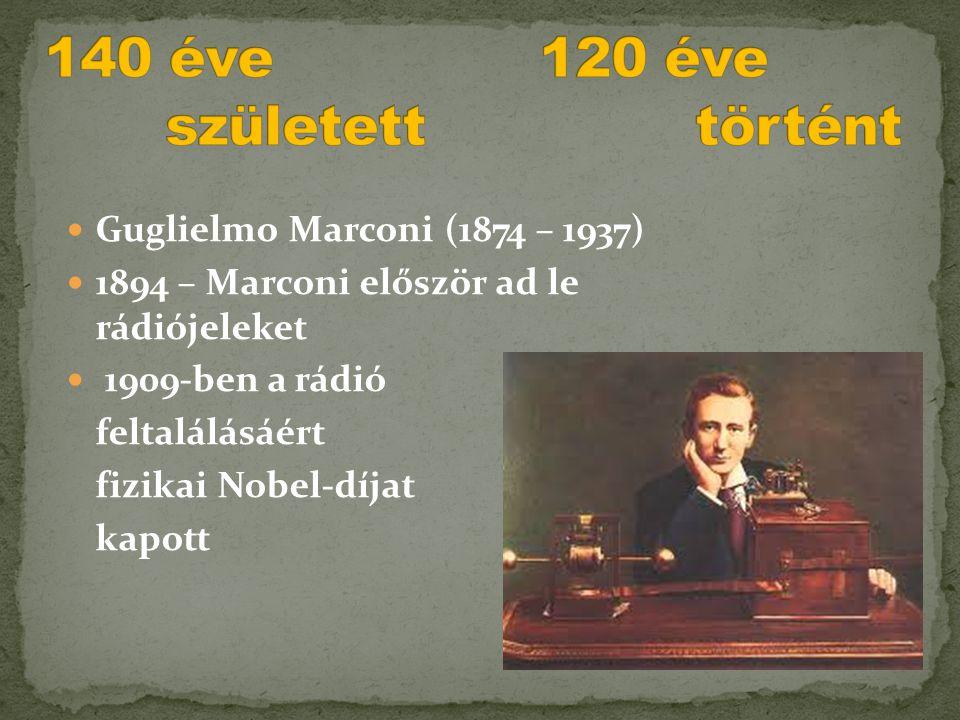  Guglielmo Marconi (1874 – 1937)  1894 – Marconi először ad le rádiójeleket  1909-ben a rádió feltalálásáért fizikai Nobel-díjat kapott