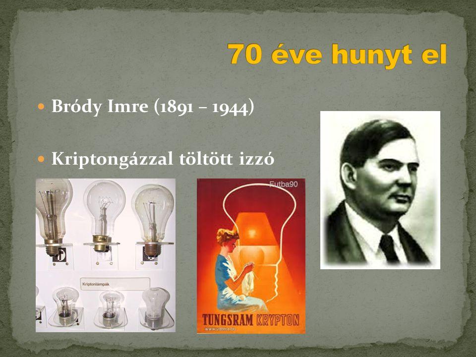  Bródy Imre (1891 – 1944)  Kriptongázzal töltött izzó