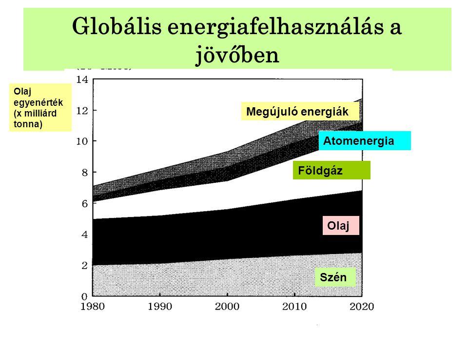 Globális energiafelhasználás a jövőben Olaj egyenérték (x milliárd tonna) Szén Olaj Földgáz Atomenergia Megújuló energiák