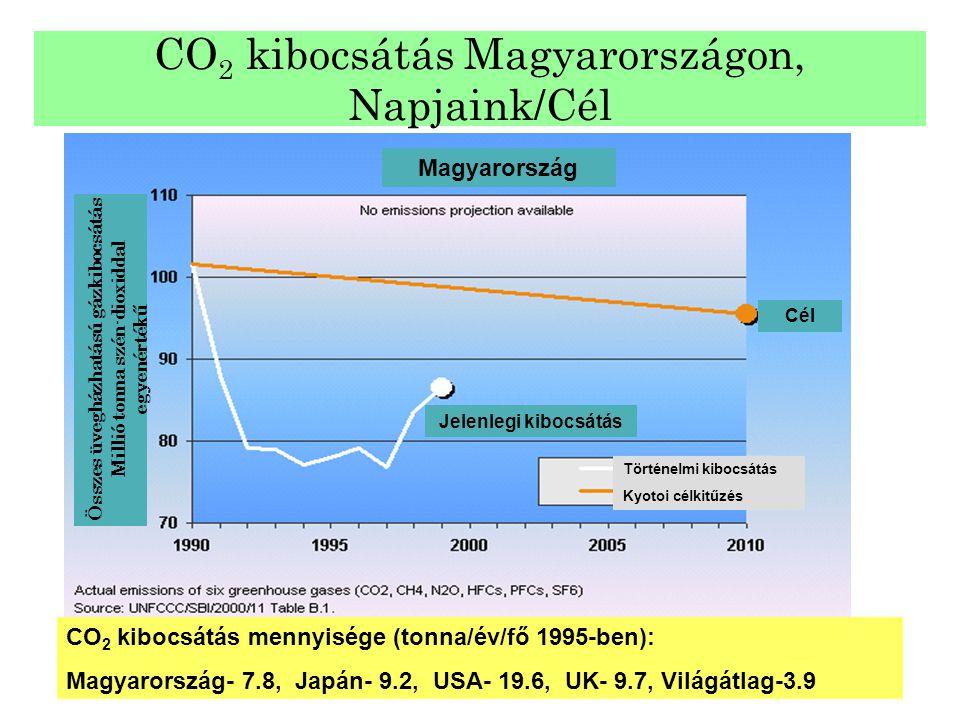 CO 2 kibocsátás Magyarországon, Napjaink/Cél CO 2 kibocsátás mennyisége (tonna/év/fő 1995-ben): Magyarország- 7.8, Japán- 9.2, USA- 19.6, UK- 9.7, Vil
