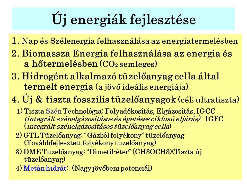 Új energiák fejlesztése 1. Nap és Szélenergia felhasználása az energiatermelésben 2. Biomassza Energia felhasználása az energia és a hőtermelésben (CO