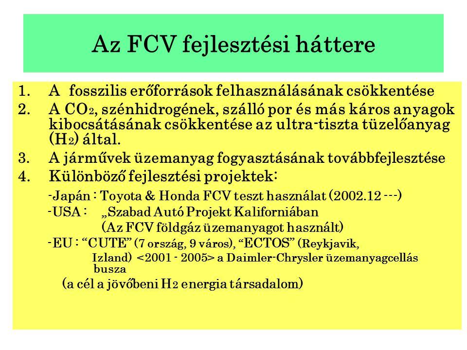 Az FCV fejlesztési háttere 1.A fosszilis erőforrások felhasználásának csökkentése 2.A CO 2, szénhidrogének, szálló por és más káros anyagok kibocsátás