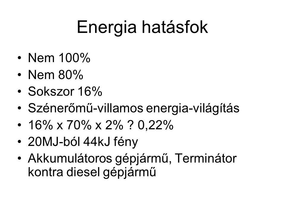 Energia hatásfok •Nem 100% •Nem 80% •Sokszor 16% •Szénerőmű-villamos energia-világítás •16% x 70% x 2% ? 0,22% •20MJ-ból 44kJ fény •Akkumulátoros gépj