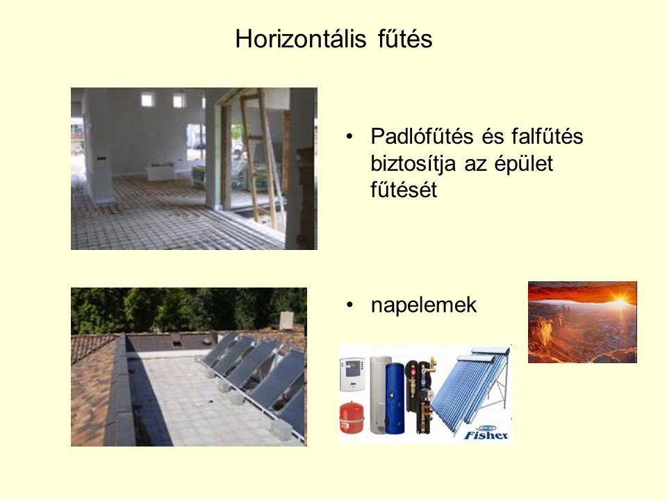 Horizontális fűtés •Padlófűtés és falfűtés biztosítja az épület fűtését •napelemek