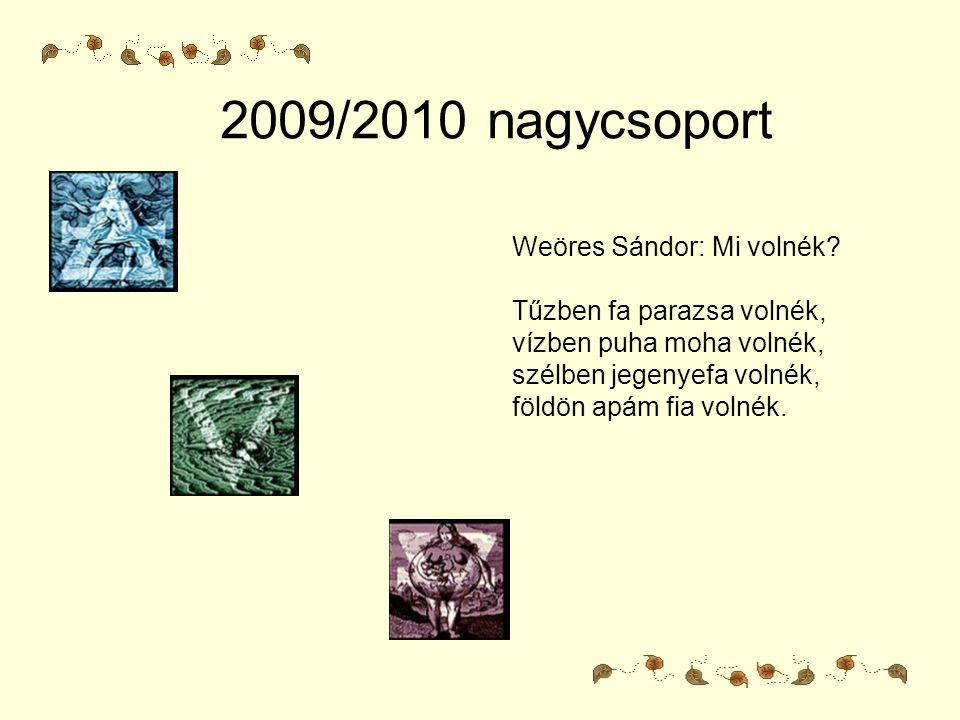 2009/2010 nagycsoport Weöres Sándor: Mi volnék? Tűzben fa parazsa volnék, vízben puha moha volnék, szélben jegenyefa volnék, földön apám fia volnék.