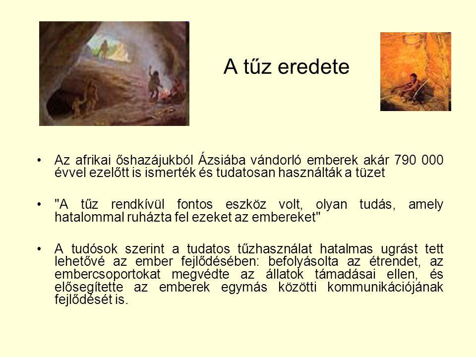 A tűz eredete •Az afrikai őshazájukból Ázsiába vándorló emberek akár 790 000 évvel ezelőtt is ismerték és tudatosan használták a tüzet •