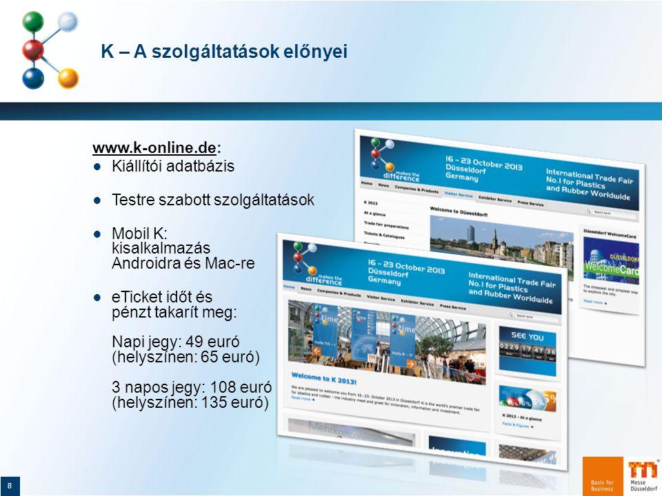 """K 2013: A műanyagokhoz és gumiféleségekhez kapcsolódó újdonságok csúcsrendezvénye 19 ● A K 2013 szakvásáron az alábbi termékújdonságokat mutatják be a gépek és felszerelések kínálatában: ● Rövidebb átszerszámozási és állásidők ● Gyorsabb gépmozgás, optimalizált szerszámok, hatékony hűtés, jobb összehangolás ● A folyamatba épített felügyelet ● Szálerősítésű könnyűszerkezetes műanyag alkatrészek különböző gyártási koncepciói ● Fröccsöntő és présöntő szerszámok fokozott """"villamosítása a villamos hajtásokkal"""