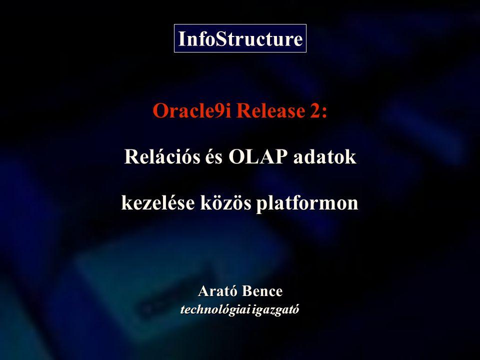Arató Bence technológiai igazgató Oracle9i Release 2: Relációs és OLAP adatok kezelése közös platformon InfoStructure