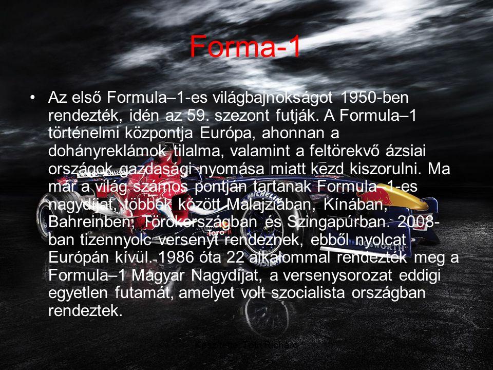 Készítette: Tóth Richárd Forma-1 •A legújabb versenyhelyszín az idén bemutatkozott Szingapúri Nagydíj, ami a Formula-1 első éjjeli futama volt.