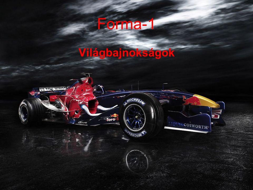 Készítette: Tóth Richárd Forma-1 •A 2007-es év világbajnoka, Kimi Räikkönen •1950 óta évente rendeznek Formula–1-es világbajnokságot, amit több verseny – más néven Grand Prix, magyarul Nagydíj – alkot.