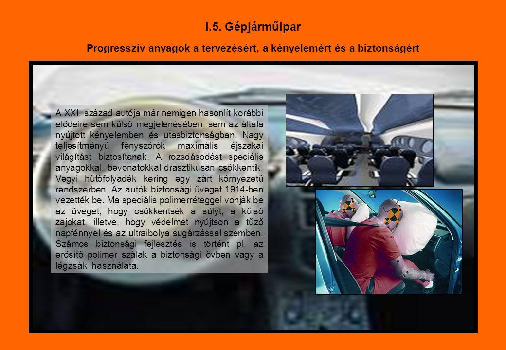 I.5. Gépjárműipar Progresszív anyagok a tervezésért, a kényelemért és a biztonságért A XXI. század autója már nemigen hasonlít korábbi elődeire sem kü