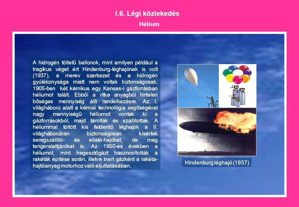 I.6. Légi közlekedés Hélium A hidrogén töltetű ballonok, mint amilyen például a tragikus véget ért Hindenburg-léghajónak is volt (1937), a merev szerk