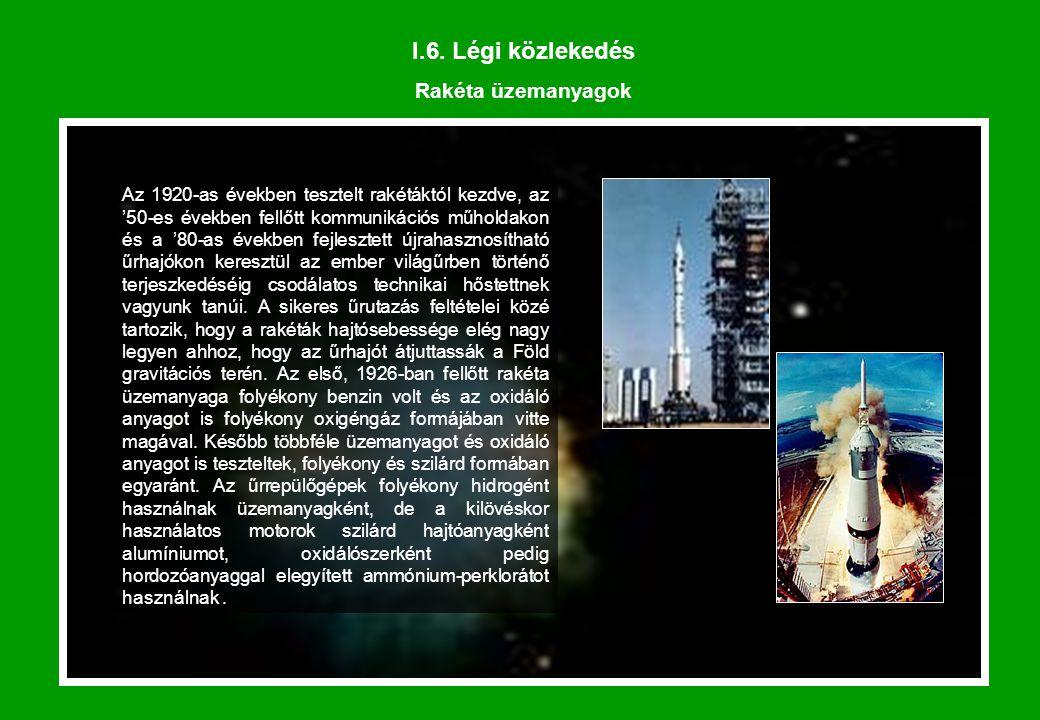 I.6. Légi közlekedés Rakéta üzemanyagok Az 1920-as években tesztelt rakétáktól kezdve, az '50-es években fellőtt kommunikációs műholdakon és a '80-as