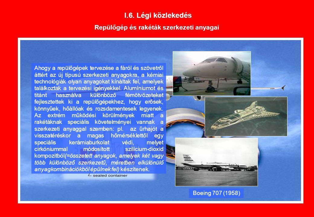 I.6. Légi közlekedés Repülőgép és rakéták szerkezeti anyagai Ahogy a repülőgépek tervezése a fáról és szövetről áttért az új típusú szerkezeti anyagok
