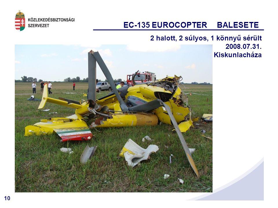 10 EC-135 EUROCOPTER BALESETE 2 halott, 2 súlyos, 1 könnyű sérült 2008.07.31. Kiskunlacháza