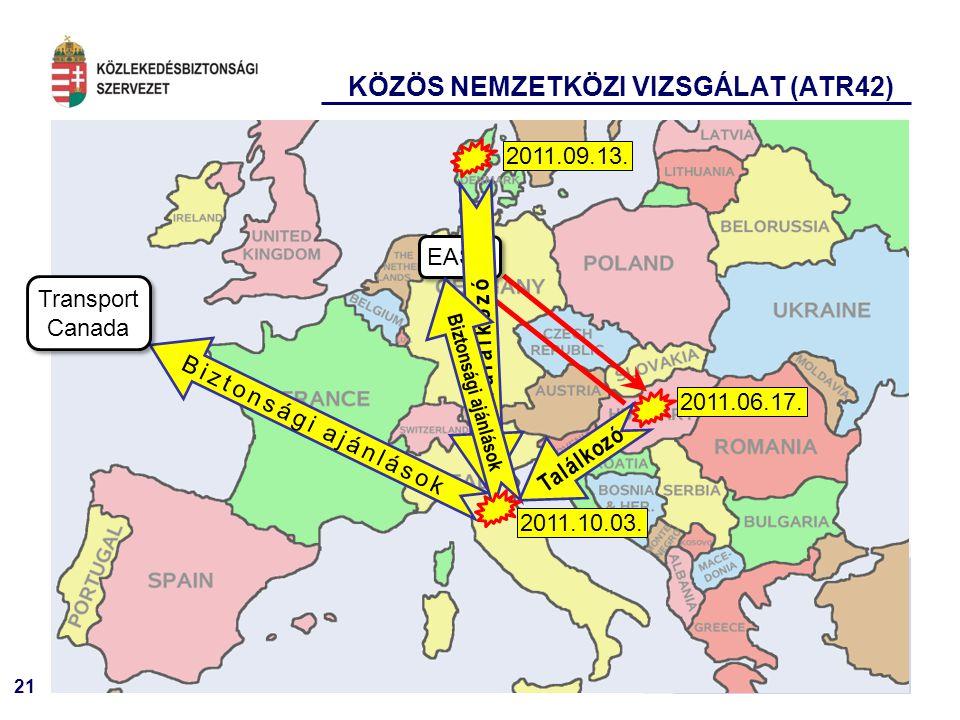 21 KÖZÖS NEMZETKÖZI VIZSGÁLAT (ATR42) 2011.09.13. 2011.06.17.