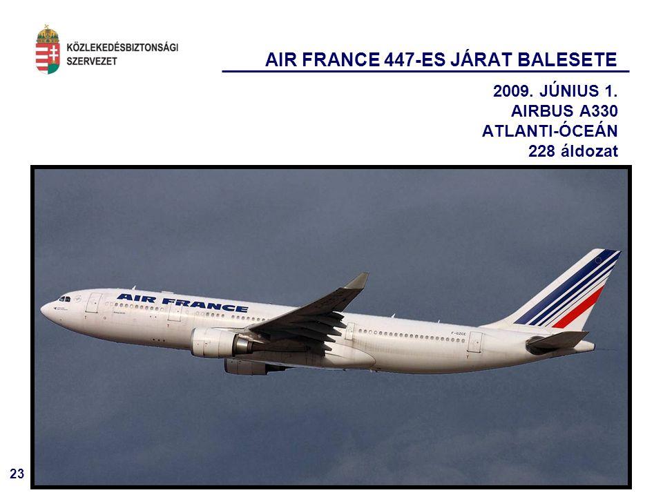 23 AIR FRANCE 447-ES JÁRAT BALESETE 2009. JÚNIUS 1. AIRBUS A330 ATLANTI-ÓCEÁN 228 áldozat