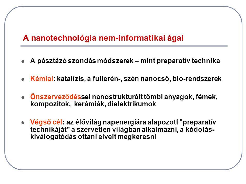 A nanotechnológia nem-informatikai ágai  A pásztázó szondás módszerek – mint preparatív technika  Kémiai: katalízis, a fullerén-, szén nanocső, bio-