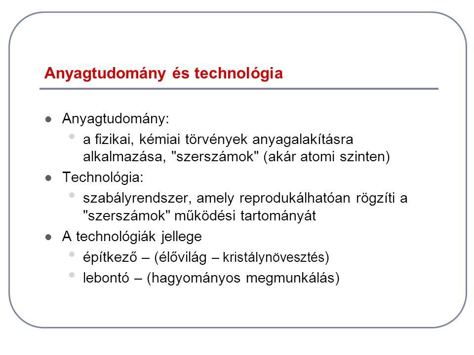 Anyagtudomány és technológia  Anyagtudomány: • a fizikai, kémiai törvények anyagalakításra alkalmazása,