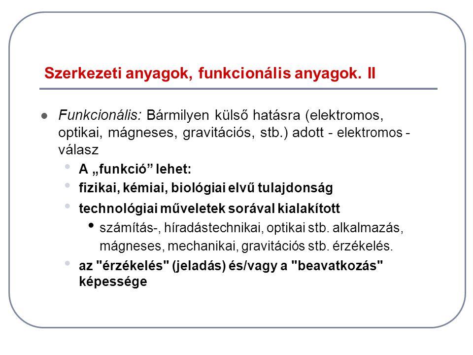 Szerkezeti anyagok, funkcionális anyagok. II  Funkcionális: Bármilyen külső hatásra (elektromos, optikai, mágneses, gravitációs, stb.) adott - elektr