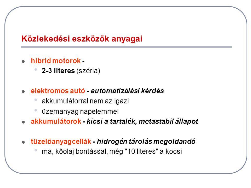 Közlekedési eszközök anyagai  hibrid motorok - • 2-3 literes (széria)  elektromos autó - automatizálási kérdés • akkumulátorral nem az igazi • üzema