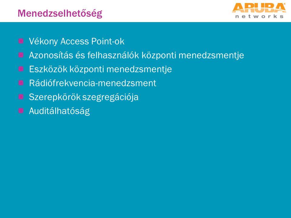 Menedzselhetőség Vékony Access Point-ok Azonosítás és felhasználók központi menedzsmentje Eszközök központi menedzsmentje Rádiófrekvencia-menedzsment Szerepkörök szegregációja Auditálhatóság