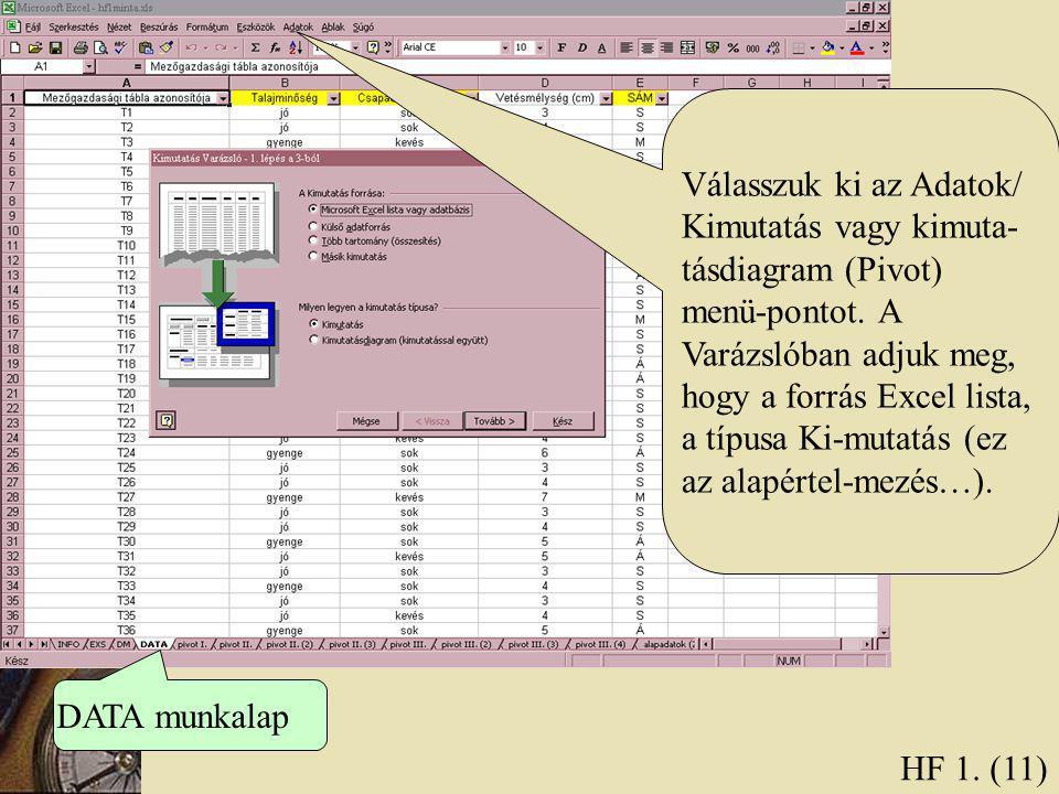 HF 1. (11) DATA munkalap Válasszuk ki az Adatok/ Kimutatás vagy kimuta- tásdiagram (Pivot) menü-pontot. A Varázslóban adjuk meg, hogy a forrás Excel l
