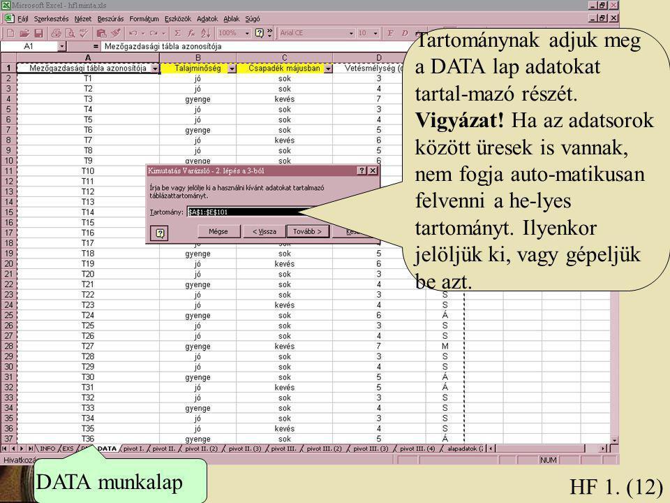 HF 1. (12) Tartománynak adjuk meg a DATA lap adatokat tartal-mazó részét. Vigyázat! Ha az adatsorok között üresek is vannak, nem fogja auto-matikusan