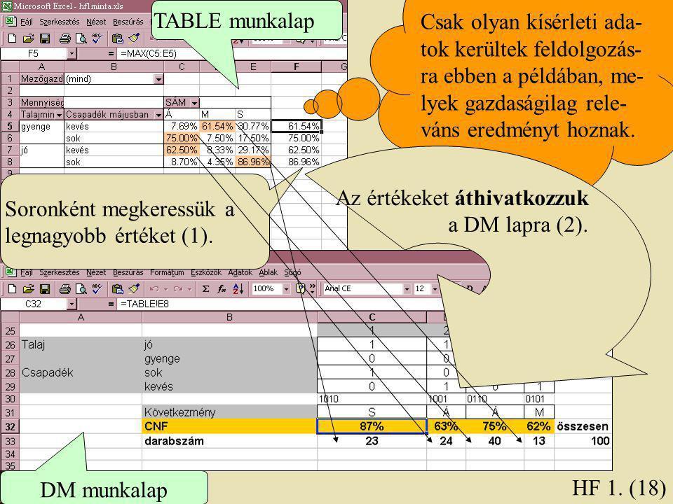 Soronként megkeressük a legnagyobb értéket (1). HF 1. (18) TABLE munkalap DM munkalap Csak olyan kísérleti ada- tok kerültek feldolgozás- ra ebben a p
