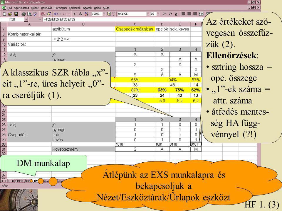 """HF 1. (3) A klasszikus SZR tábla """"x""""- eit """"1""""-re, üres helyeit """"0""""- ra cseréljük (1). DM munkalap Átlépünk az EXS munkalapra és bekapcsoljuk a Nézet/E"""