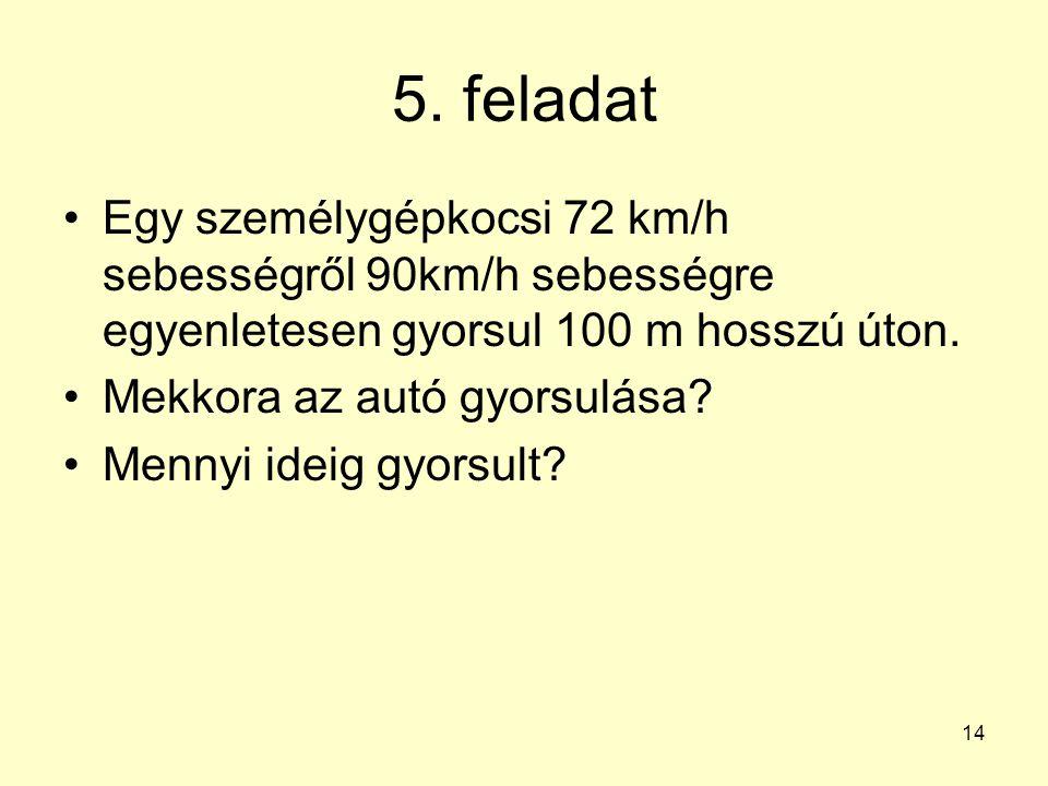 14 5. feladat •Egy személygépkocsi 72 km/h sebességről 90km/h sebességre egyenletesen gyorsul 100 m hosszú úton. •Mekkora az autó gyorsulása? •Mennyi