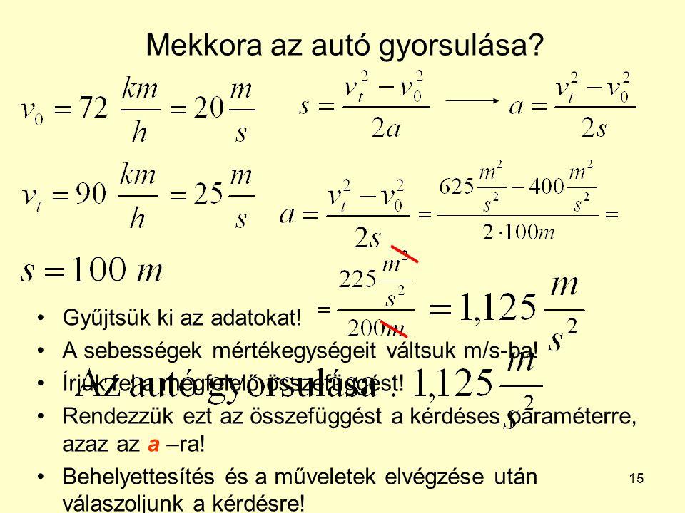 15 Mekkora az autó gyorsulása? •Gyűjtsük ki az adatokat! •A sebességek mértékegységeit váltsuk m/s-ba! •Írjuk fel a megfelelő összefüggést! •Rendezzük