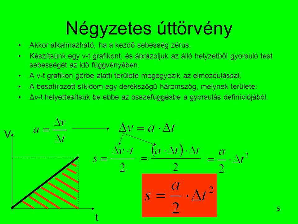 5 Négyzetes úttörvény •Akkor alkalmazható, ha a kezdő sebesség zérus. •Készítsünk egy v-t grafikont, és ábrázoljuk az álló helyzetből gyorsuló test se