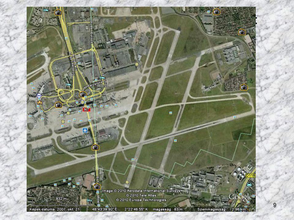 9 A párizsi repülőtér műholdas felvétele: