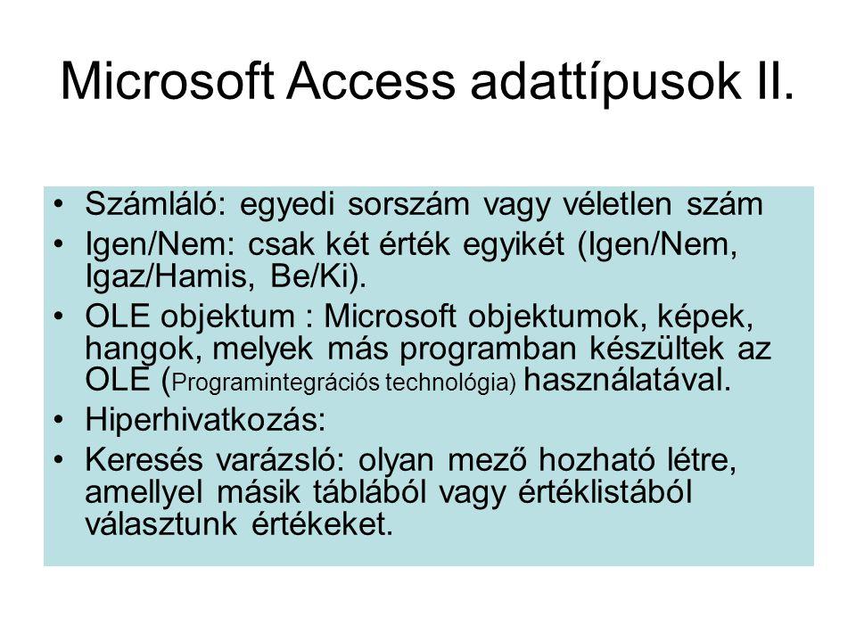 Microsoft Access adattípusok II. •Számláló: egyedi sorszám vagy véletlen szám •Igen/Nem: csak két érték egyikét (Igen/Nem, Igaz/Hamis, Be/Ki). •OLE ob
