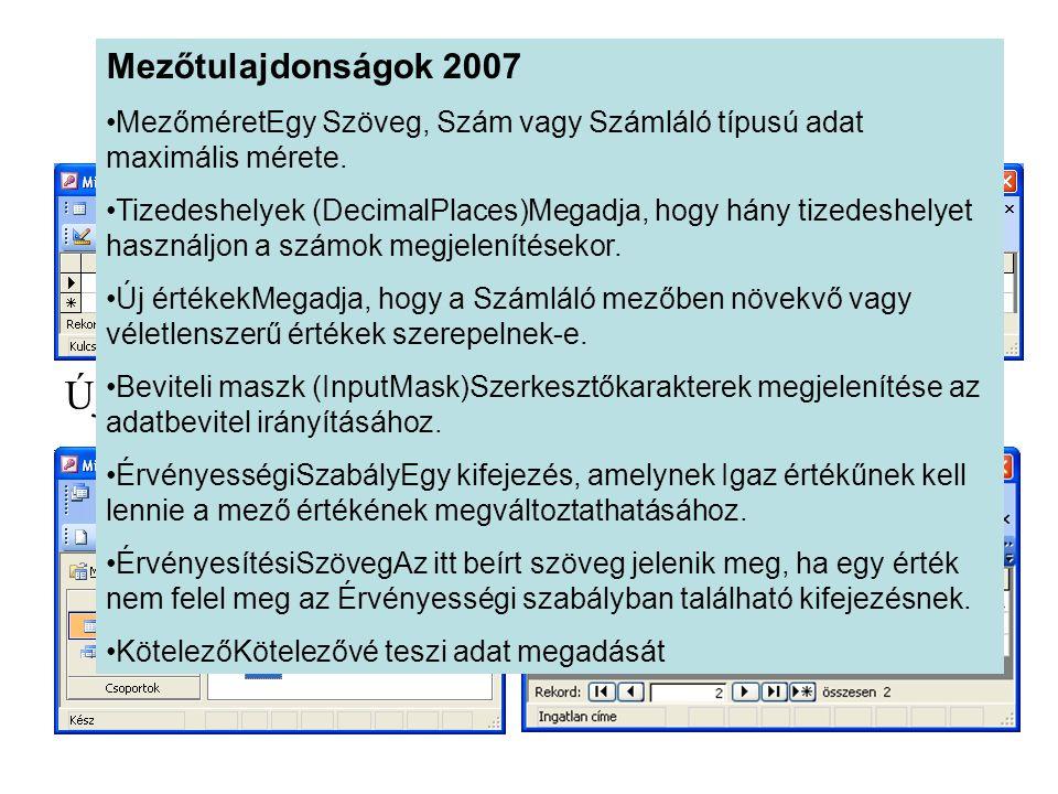 Tábla módosítása Új oszlop felvétele, paraméterek módosítása. Új tábla Mezőtulajdonságok 2007 •MezőméretEgy Szöveg, Szám vagy Számláló típusú adat max