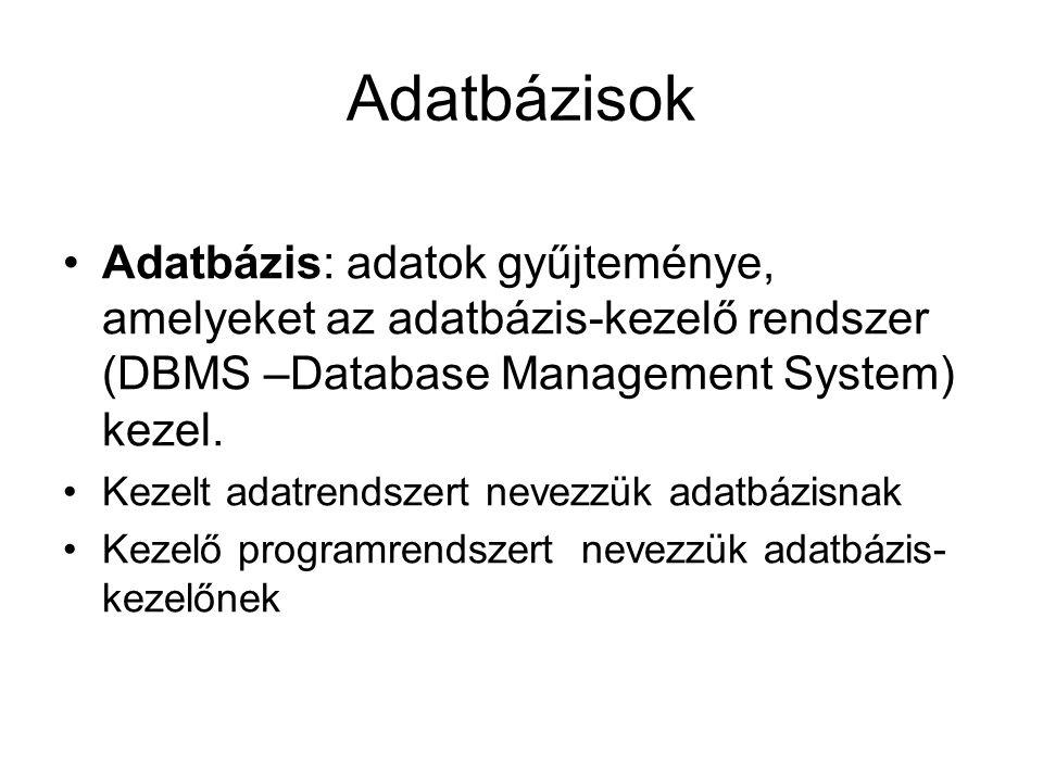 Adatbázisok •Adatbázis: adatok gyűjteménye, amelyeket az adatbázis-kezelő rendszer (DBMS –Database Management System) kezel. •Kezelt adatrendszert nev