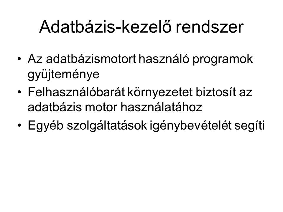 Adatbázis-kezelő rendszer •Az adatbázismotort használó programok gyüjteménye •Felhasználóbarát környezetet biztosít az adatbázis motor használatához •