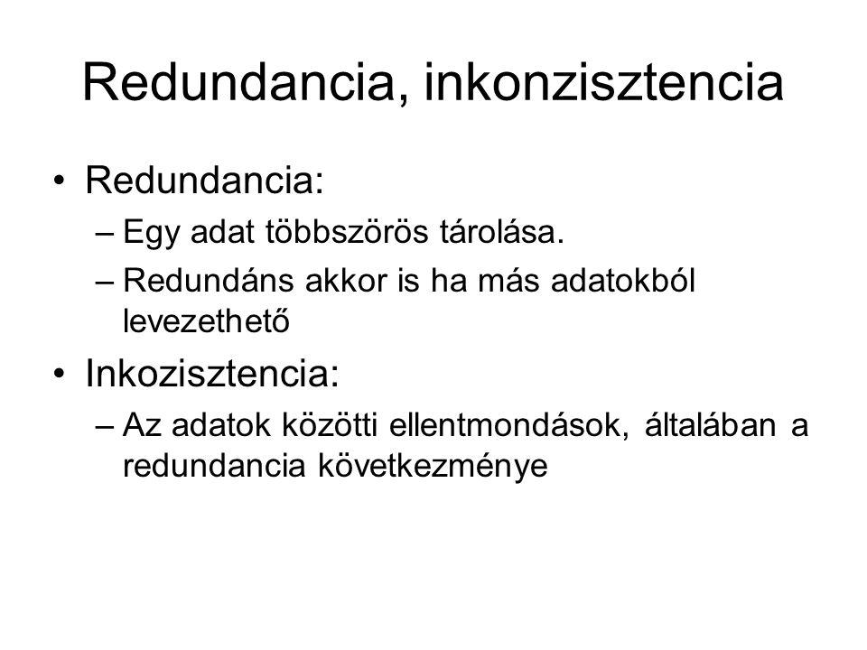 Redundancia, inkonzisztencia •Redundancia: –Egy adat többszörös tárolása. –Redundáns akkor is ha más adatokból levezethető •Inkozisztencia: –Az adatok