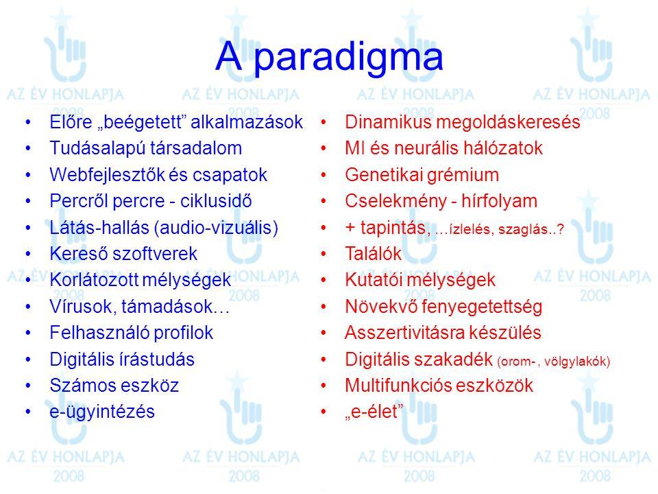 """A paradigma •Előre """"beégetett"""" alkalmazások •Tudásalapú társadalom •Webfejlesztők és csapatok •Percről percre - ciklusidő •Látás-hallás (audio-vizuáli"""
